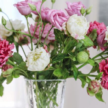 Bouquet of cold porcelain flowers